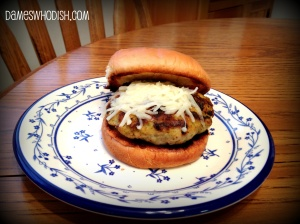 I decided to serve my chicken pesto burger with some shredded mozzarella cheese.